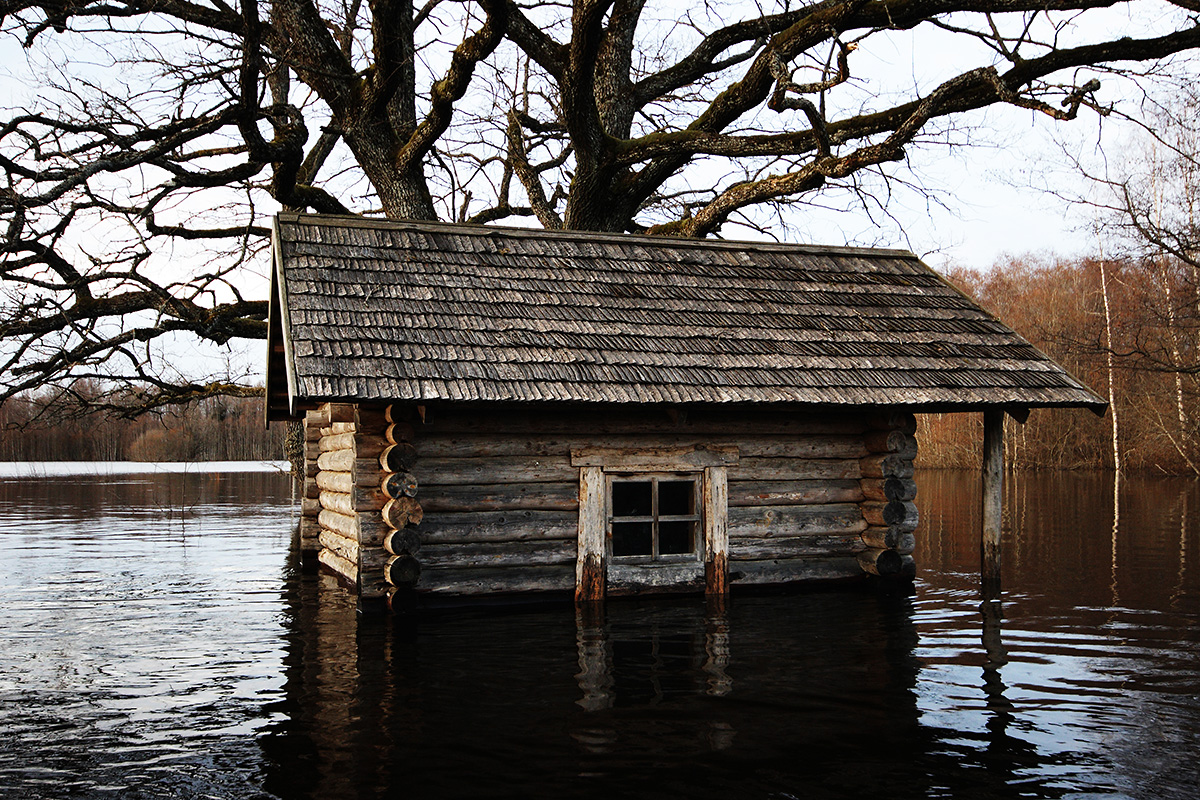 Wilderness hut during floodtime